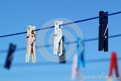 Cloth pegs with a under the blue sky