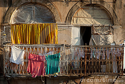 Clothes on the balcony