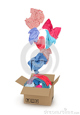 Free Clothes Falling Into The Cardboard Box Stock Image - 56799991