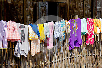 Clothes on a fence