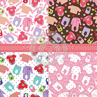 Free Clothes For Newborn Baby Girl In Seamless Pattern Set Royalty Free Stock Image - 40401296