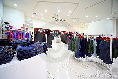 Clothes hang in shopping center