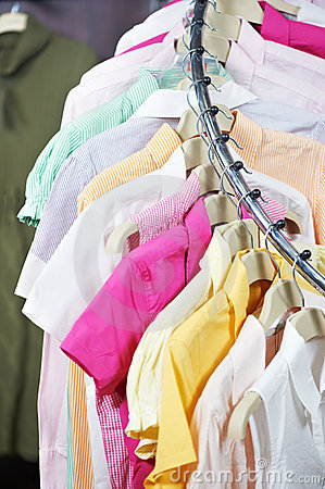 Clothes on hanger in shop