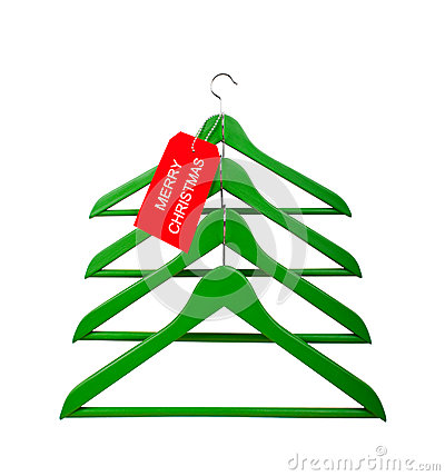 Clothes hangers in the form of a Christmas tree