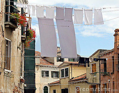 Clothes hanging out to dry