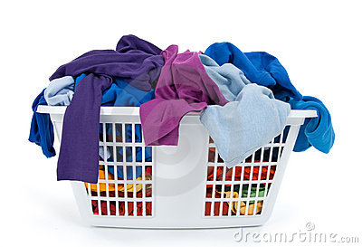 Clothes in laundry basket. Blue, indigo, purple.