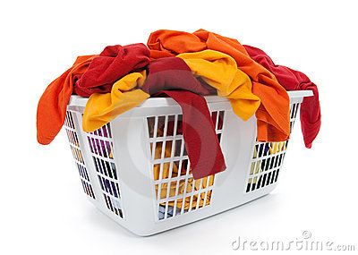 Clothes in laundry basket. Red, orange, yellow.
