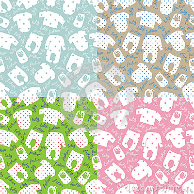 Clothes For Newborn Baby.Seamless Pattern Set Stock Vector ...