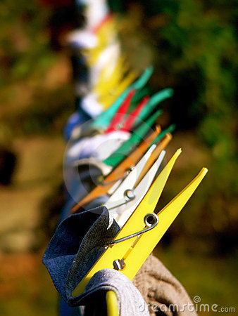 Clothes pegs on a line