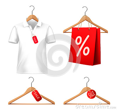 Clothes sale set with hangers and price tags.