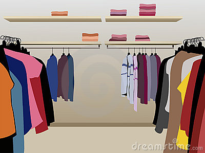 Clothes in shop vector
