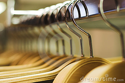 Stock Image: Clothes store - hangers
