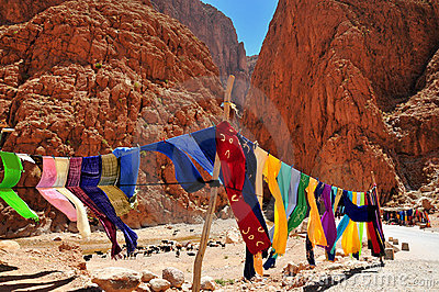 Clothes in Todra gorges in Morocco