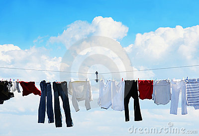 Clothesline and blue sky