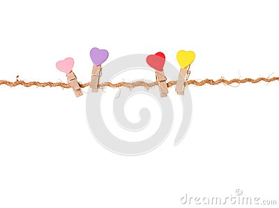 Clothespins with valentines  on rope