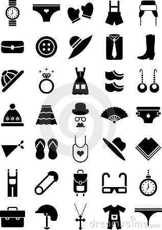 Free Clothing And Accessories Icons Royalty Free Stock Photography - 23933497