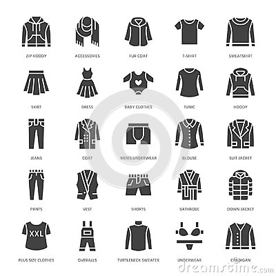 Free Clothing, Fasion Flat Glyph Icons. Mens, Womens Apparel - Dress, Down Jacket, Jeans, Underwear, Sweatshirt. Silhouette Royalty Free Stock Images - 108299309