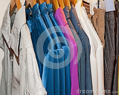 Clothing hanging on a rail