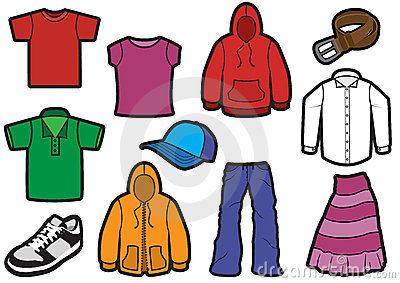 Clothing symbol set with bold outlines