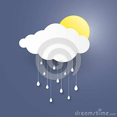 Cloud in the Blue sky with rain paper art stlye. illustra Cartoon Illustration