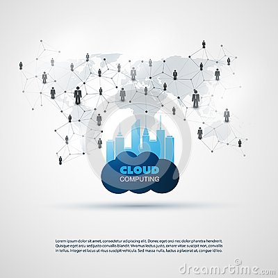 Free Cloud Computing And Smart City Design Concept - Digital And Business Network Connections, Technology Background Royalty Free Stock Images - 117065759