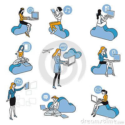 Free Cloud Computing Blue Girls Set Stock Photos - 25512613