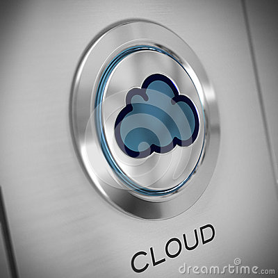 Cloud computing, button close up