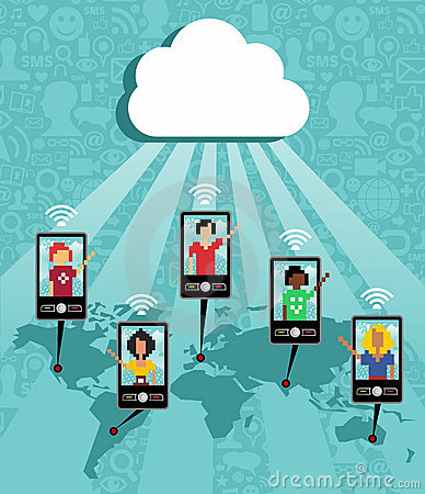 Cloud computing cell phone communication