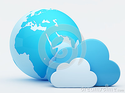 Cloud computing, clouds with blue globe
