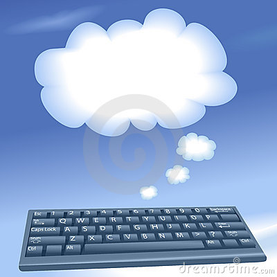 Cloud computing computer keyboard talk clouds