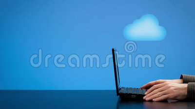 Cloud computing concept. Animated cloud computing concept - man with laptop, pulsing cloud and arrows illustrating downloading and uploading. Blank negative vector illustration