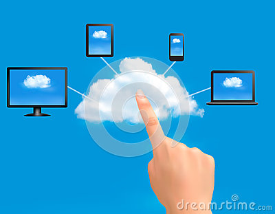 Cloud Computing concept background with hand.
