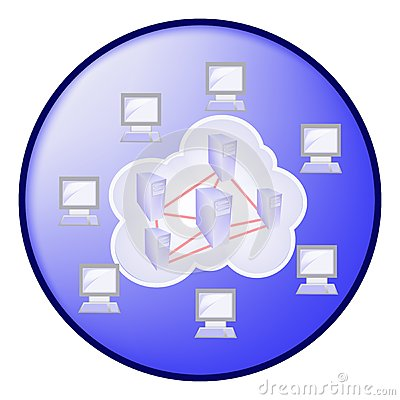 Cloud computing concept in blue circle