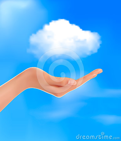 Cloud computing concept  Hand with blue sky