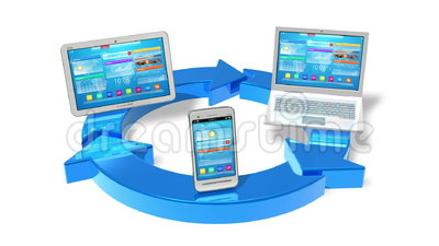 Cloud computing concept. Cloud computing and wireless networking concept: white tablet PC, smartphone and laptop connected with blue round arrows isolated on stock illustration