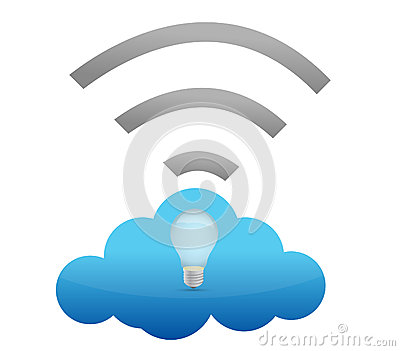 Cloud computing connection lightbulb illustration