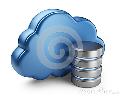 Cloud computing and database. 3D icon isolated