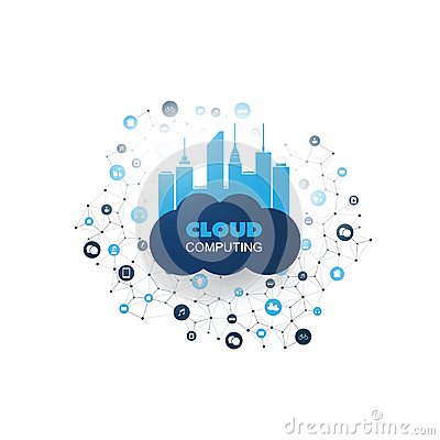 Free Cloud Computing Design Concept With Mesh, Connected Icons Representing Various Smart Devices And Services Royalty Free Stock Photo - 121848855