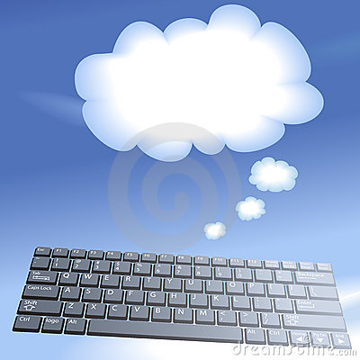 Cloud computing floating computer keys