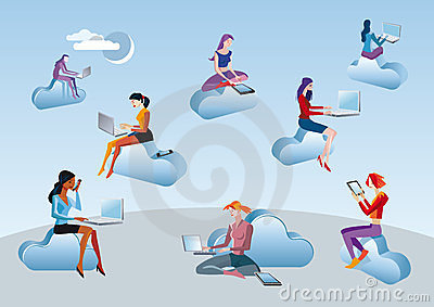 Cloud Computing Girls Sitting In Clouds Royalty Free Stock Images - Image: 23690459