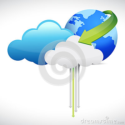 Cloud computing globe and arrows