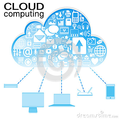 Cloud computing with icon in blue