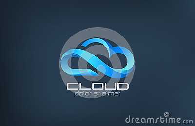 Cloud computing icon vector logo design template.