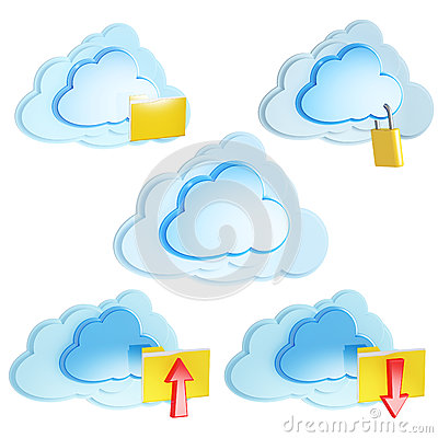Cloud computing icons with folders and arrows