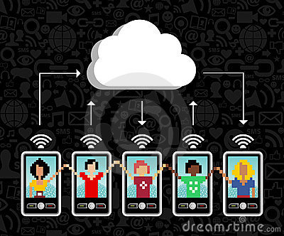 Cloud computing mobile phone background
