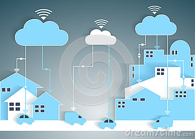 Cloud Computing Paper Cutout City and Suburb Netwo