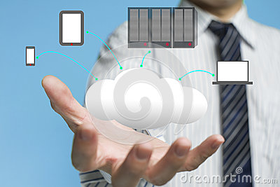 Cloud computing service with a business man