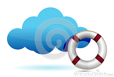 Cloud computing SOS lifesaver illustration