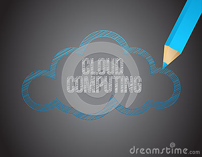 Cloud computing white text over black board