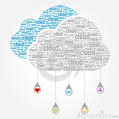 Cloud Computing Words Concept with Drop Icons